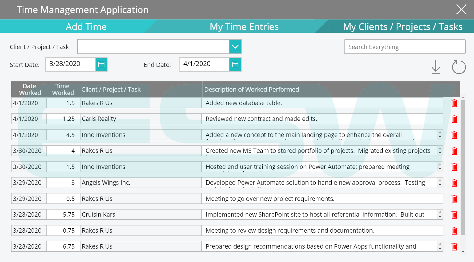 An example of Managing Time Entries with Microsoft Power Apps