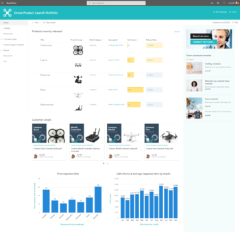 Example of Modern SharePoint Team Site Design for a Product Launch